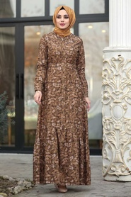 Neva Style - Çiçekli Hardal Tesettür Kadife Elbise 1498HR - Thumbnail