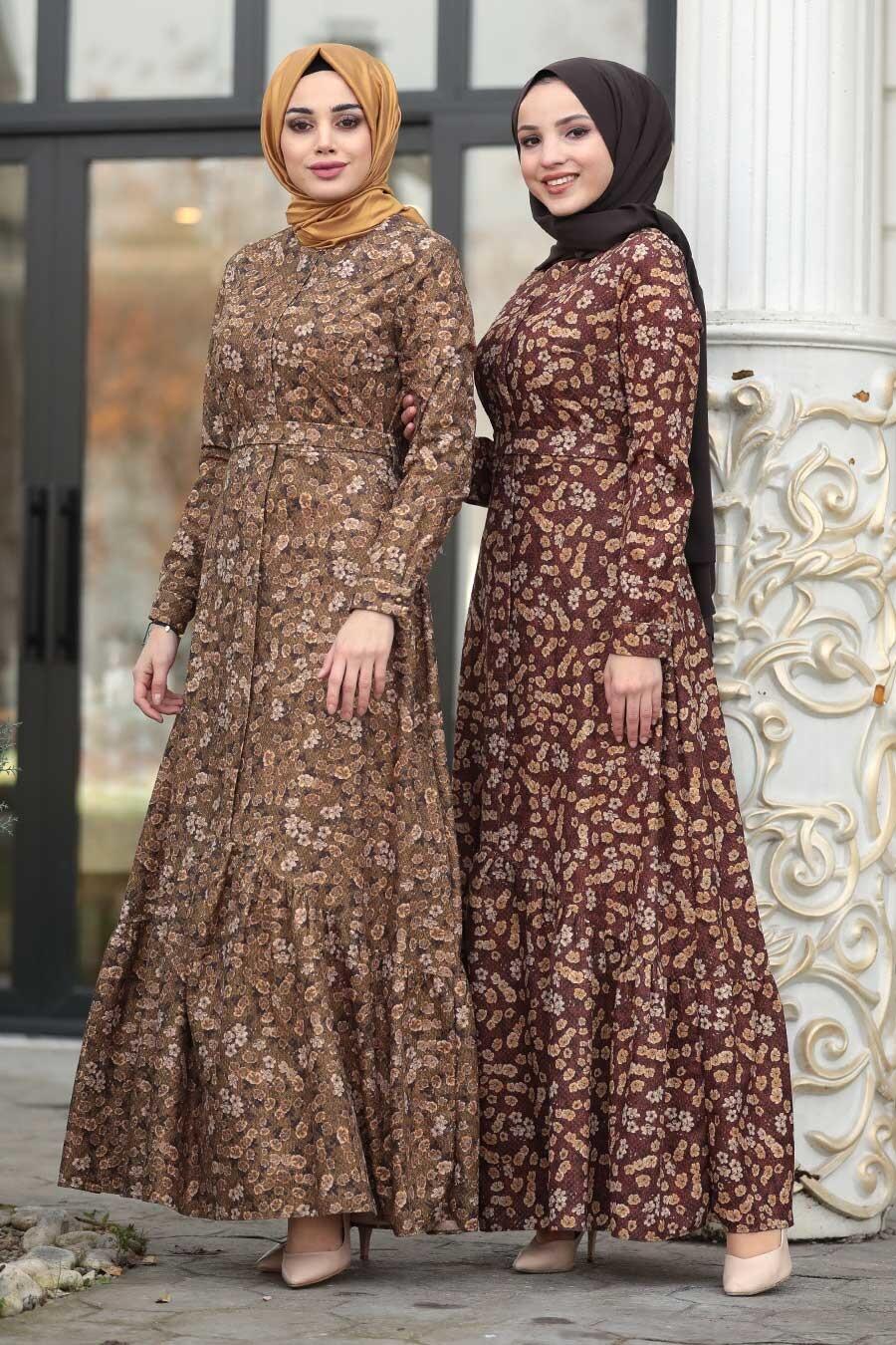 Neva Style - Çiçekli Hardal Tesettür Kadife Elbise 1498HR