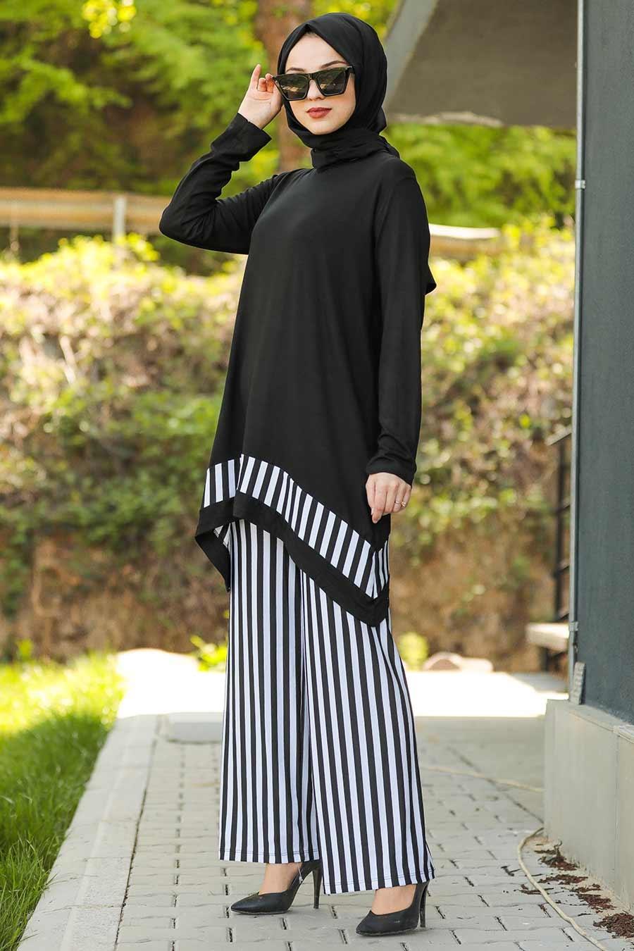 Neva Style - Çizgi Desenli Siyah Tesettür İkili Takım 6147S