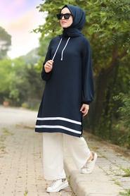 Neva Style - Çizgili Lacivert Tesettür İkili Takım 10212L - Thumbnail