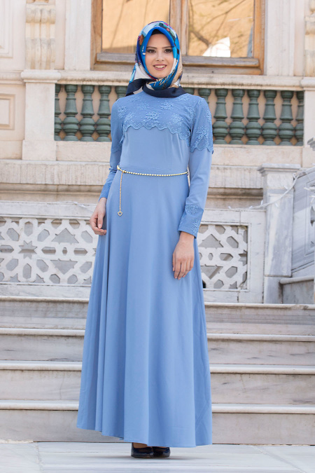 Neva Style - Dantel Detaylı Bebek Mavisi Tesettür Elbise 6647BM