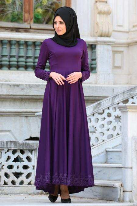 Neva Style - Dantel Detaylı Mor Tesettür Elbise 41450MOR