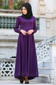 Neva Style - Dantel Detaylı Mor Tesettür Elbise 41450MOR - Thumbnail