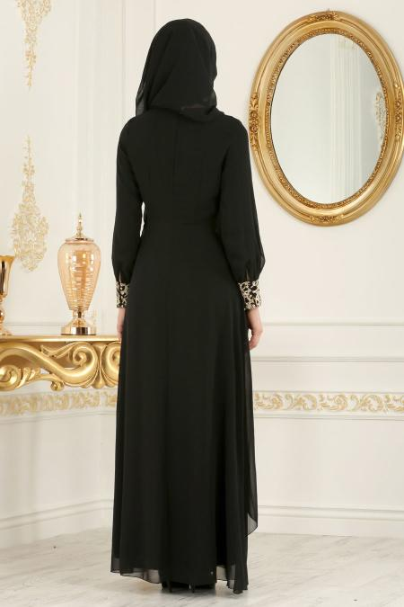 Neva Style - Dantel Detaylı Siyah Tesettür Abiye Elbise 25612S