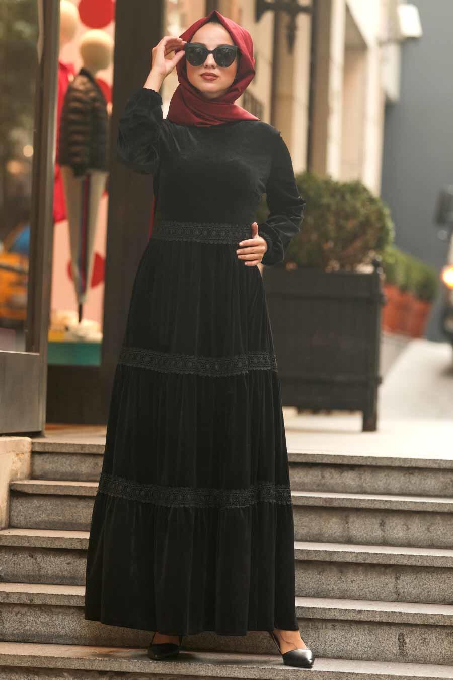 Neva Style - Dantel Detaylı Siyah Tesettür Kadife Elbise 50550S