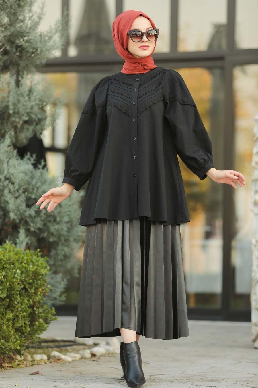 Neva Style - Dantel Detaylı Siyah Tesettür Tunik 8475S