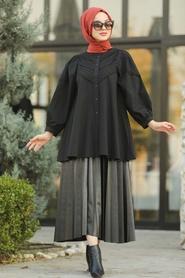 Neva Style - Dantel Detaylı Siyah Tesettür Tunik 8475S - Thumbnail