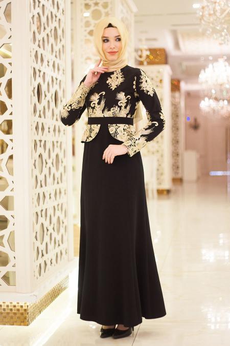 Neva Style - Dantel İşlemeli Peplum Siyah Tesettür Abiye Elbise 5349S
