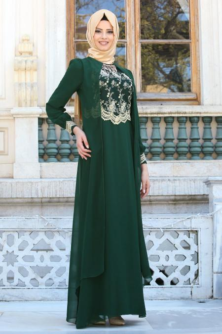 Neva Style - Dantel İşlemli Kolyeli Yeşil Tesettür Abiye Elbise 52561-01Y