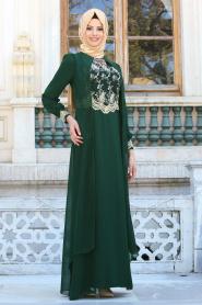 Neva Style - Dantel İşlemli Kolyeli Yeşil Tesettür Abiye Elbise 52561-01Y - Thumbnail