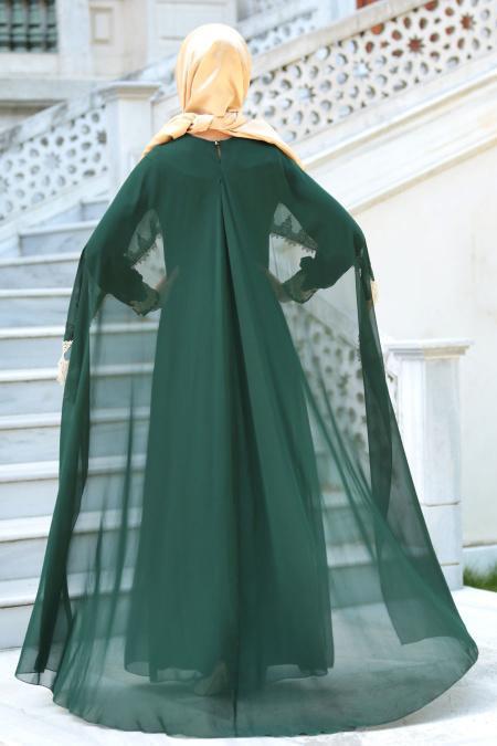 Neva Style - Dantel Pelerinli Yeşil Tesettür Abiye Elbise 52597Y