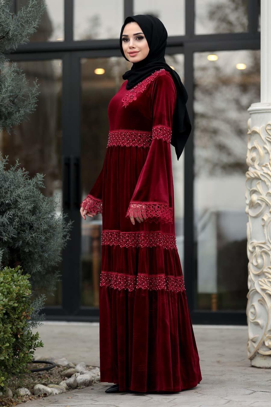 Neva Style - Dantelli Bordo Tesettür Kadife Elbise 1460BR