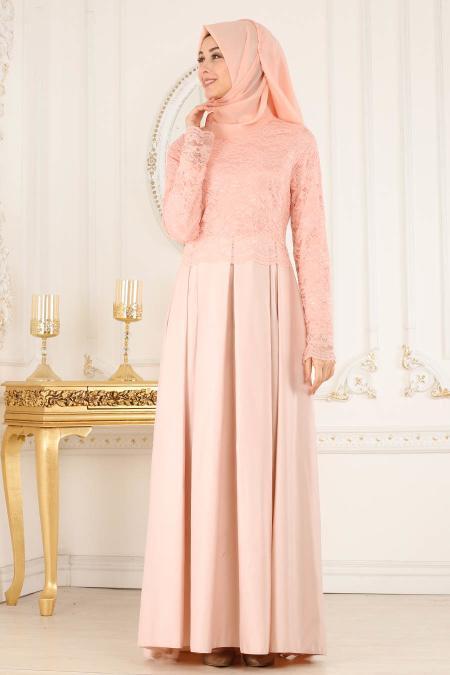 Neva Style - Dantelli Eteği Tafta Pudra Tesettür Abiye Elbise 52582PD