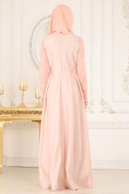 Neva Style - Dantelli Eteği Tafta Pudra Tesettür Abiye Elbise 52582PD - Thumbnail