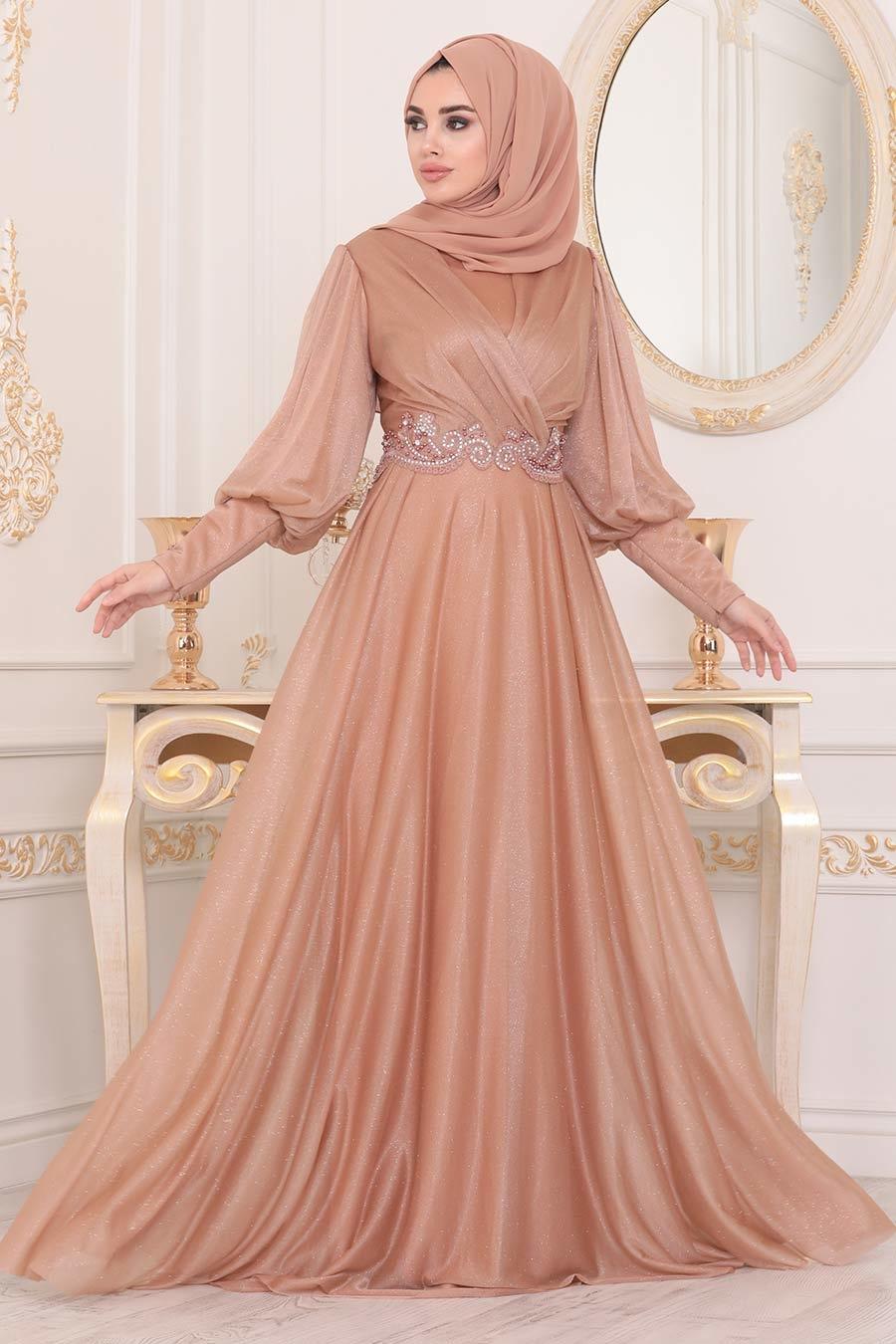 Neva Style - Dantelli Gold Tesettür Abiye Elbise 25772GOLD