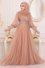 Neva Style - Dantelli Gold Tesettür Abiye Elbise 25772GOLD - Thumbnail