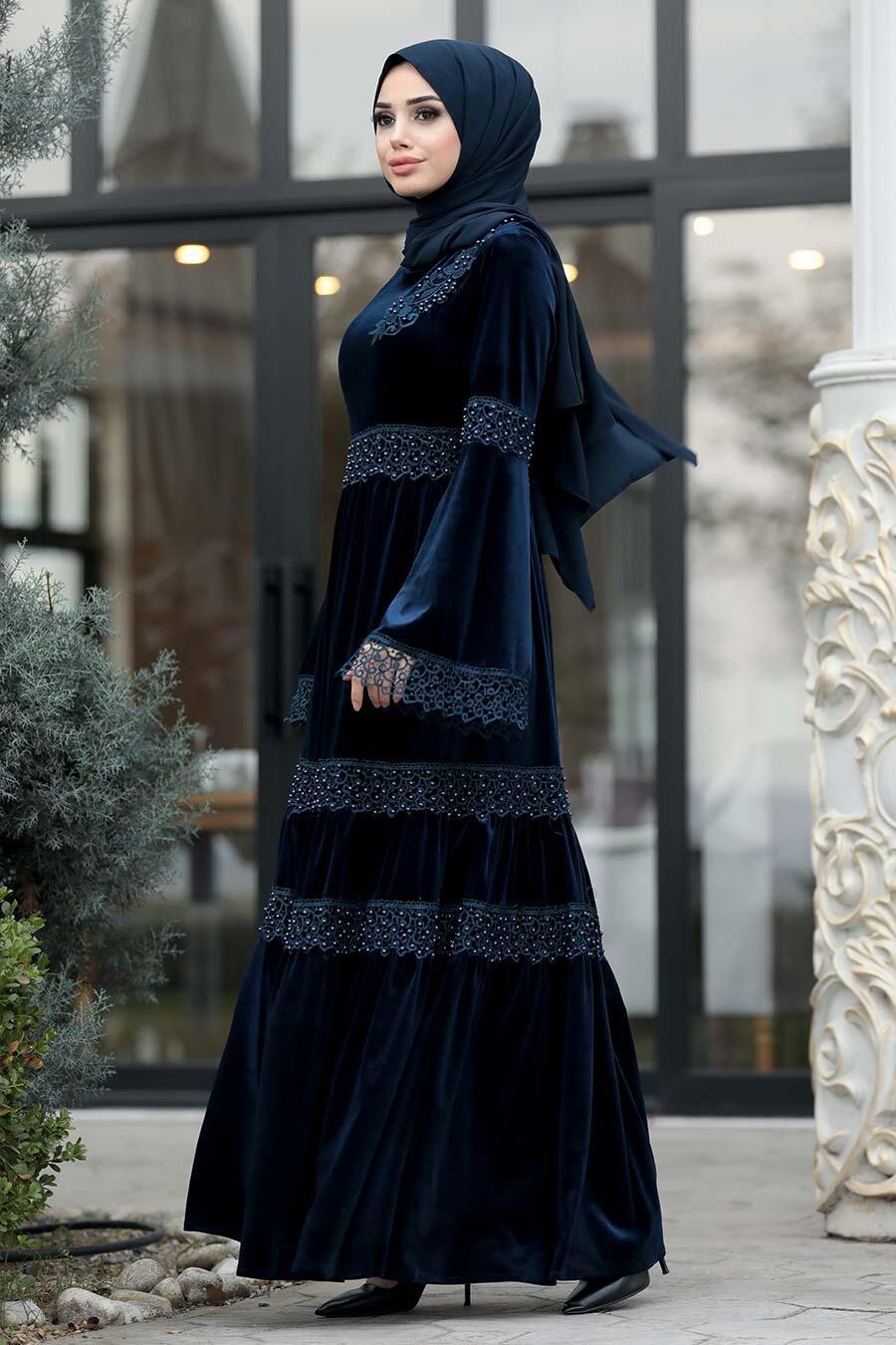 Neva Style - Dantelli Lacivert Tesettür Kadife Elbise 1460L
