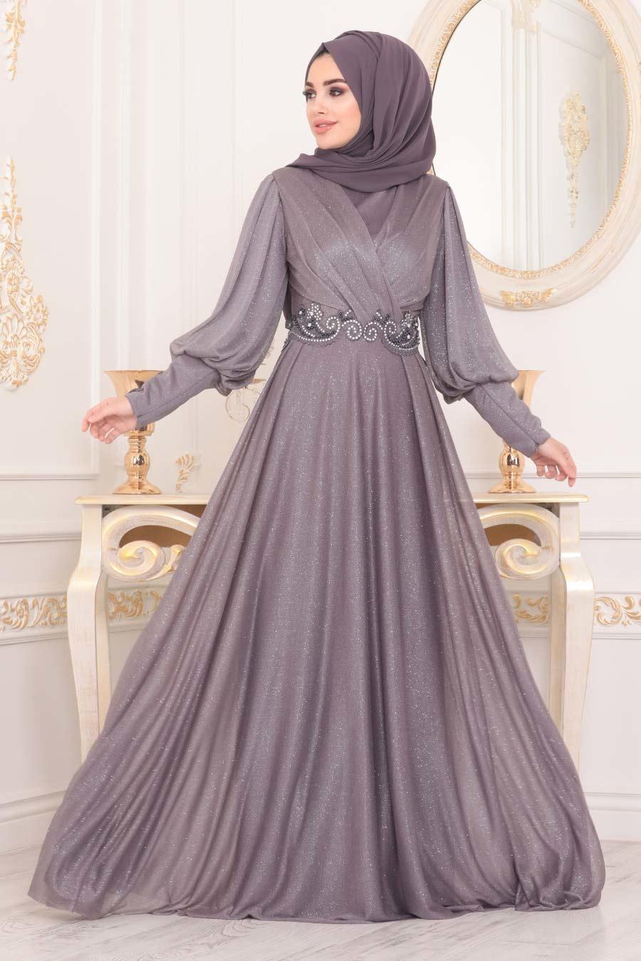 Neva Style - Dantelli Lila Tesettür Abiye Elbise 25772LILA
