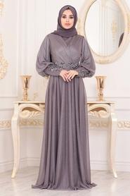 Neva Style - Dantelli Lila Tesettür Abiye Elbise 25772LILA - Thumbnail