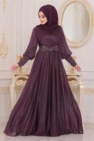 Neva Style - Dantelli Mürdüm Tesettür Abiye Elbise 25772MU - Thumbnail