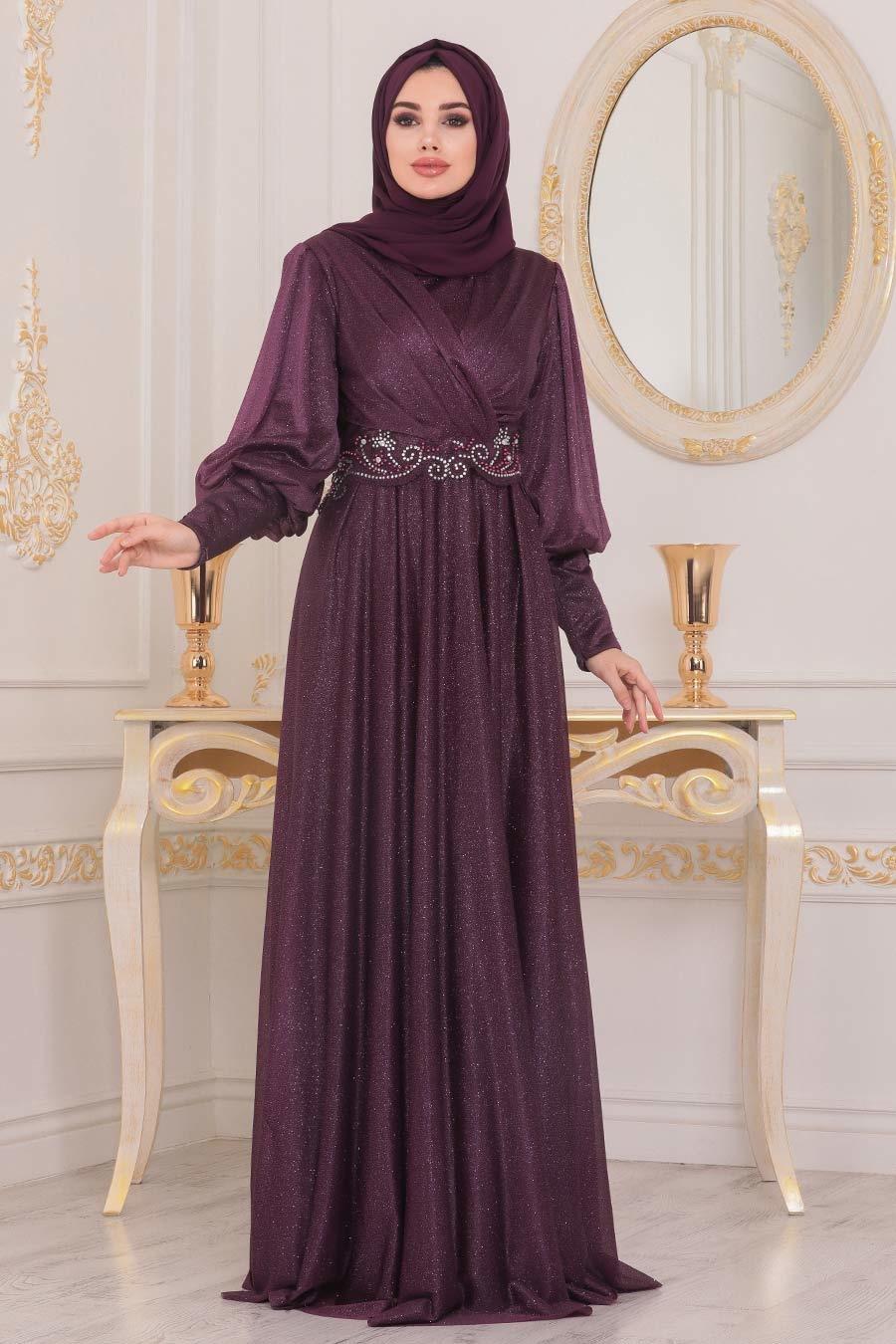 Neva Style - Dantelli Mürdüm Tesettür Abiye Elbise 25772MU
