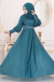 Neva Style - Dantelli Petrol Mavisi Tesettür Abiye Elbise 25772PM - Thumbnail