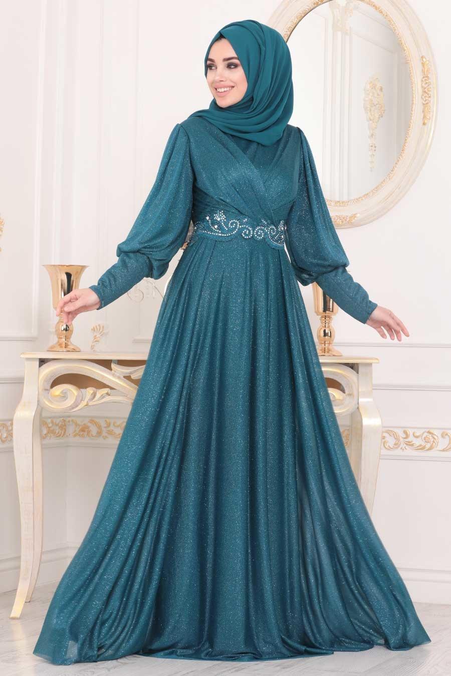 Neva Style - Dantelli Petrol Mavisi Tesettür Abiye Elbise 25772PM