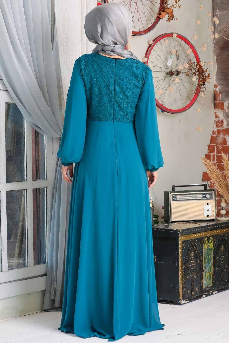 Neva Style - Dantelli Petrol Mavisi Tesettür Abiye Elbise 50060PM
