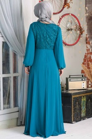 Neva Style - Dantelli Petrol Mavisi Tesettür Abiye Elbise 50060PM - Thumbnail