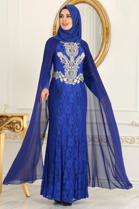 Neva Style - Dantelli Saks Mavisi Tesettür Abiye Elbise 52598SX