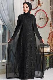 Neva Style - Dantelli Siyah Tesettür Abiye Elbise 20803S - Thumbnail