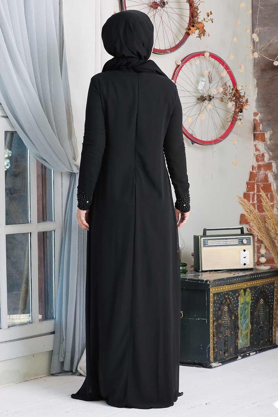 Neva Style - Dantelli Siyah Tesettür Abiye Elbise 20803S