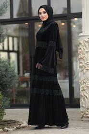 Neva Style - Dantelli Siyah Tesettür Kadife Elbise 1460S - Thumbnail