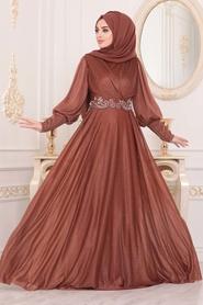 Neva Style - Dantelli Taba Tesettür Abiye Elbise 25772TB - Thumbnail