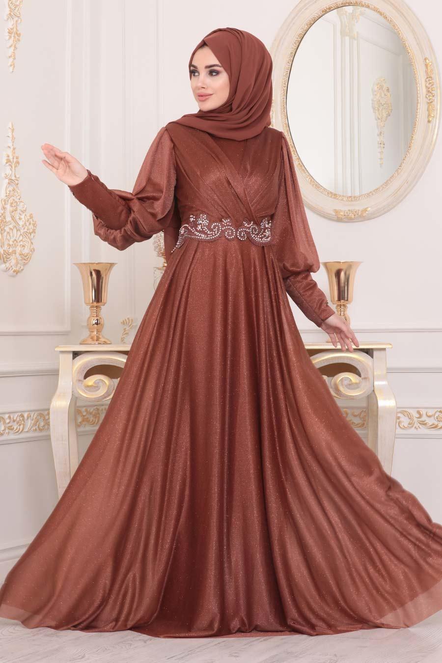 Neva Style - Dantelli Taba Tesettür Abiye Elbise 25772TB