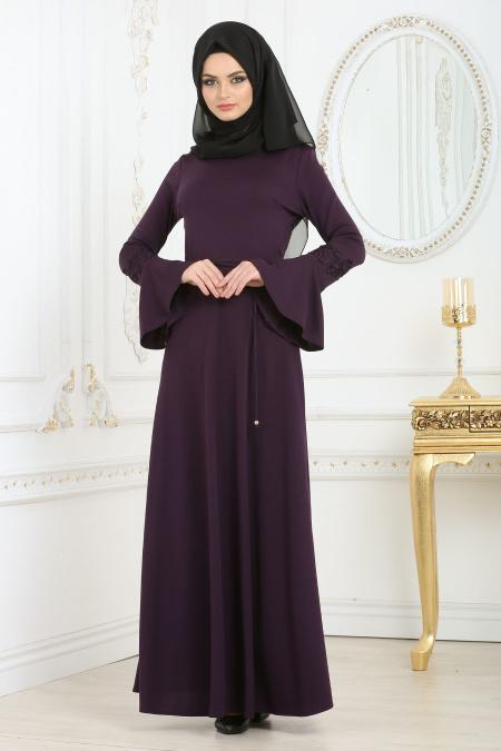 Neva Style - Dantelli Volan Kol Mor Tesettür Elbise 100106MOR