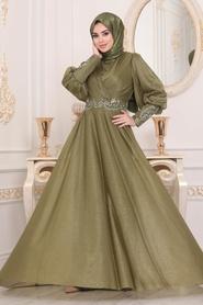 Neva Style - Dantelli Yağ Yeşili Tesettür Abiye Elbise 25772YY - Thumbnail