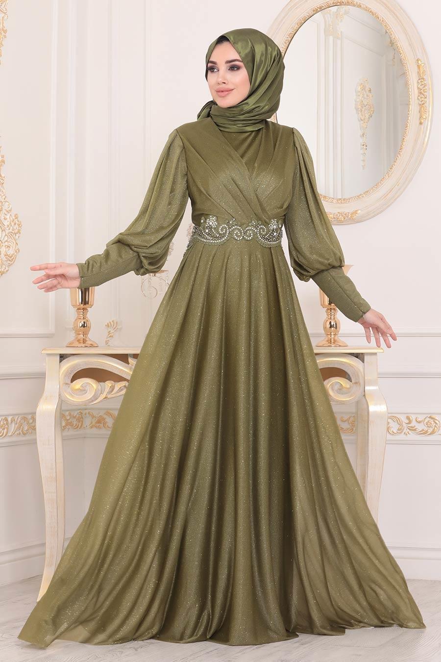 Neva Style - Dantelli Yağ Yeşili Tesettür Abiye Elbise 25772YY