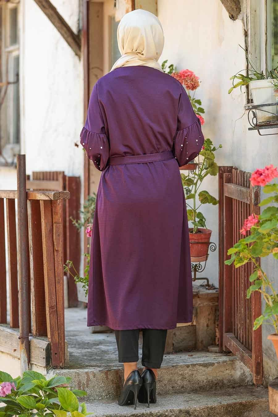 Neva Style - Dark Purple Hijab Coat 33901MU