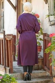 Neva Style - Dark Purple Hijab Coat 33901MU - Thumbnail