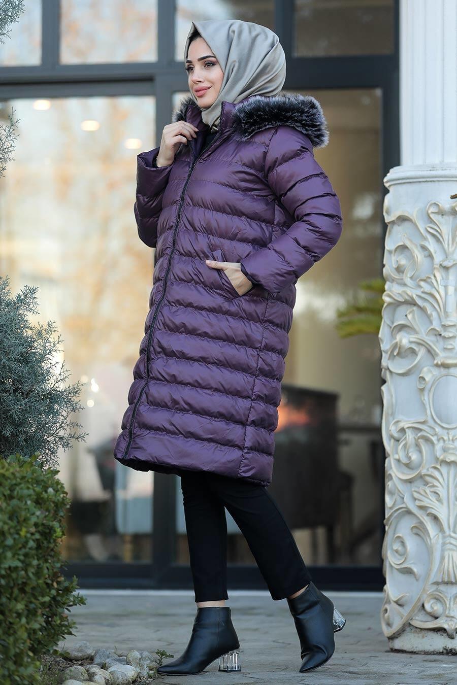 Neva Style - Dark Purple İnflatable Coat 2512MU