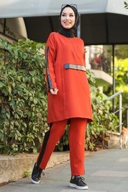 Neva Style - Deri Detaylı Kiremit Tesettür İkili Takım 1297KRMT - Thumbnail