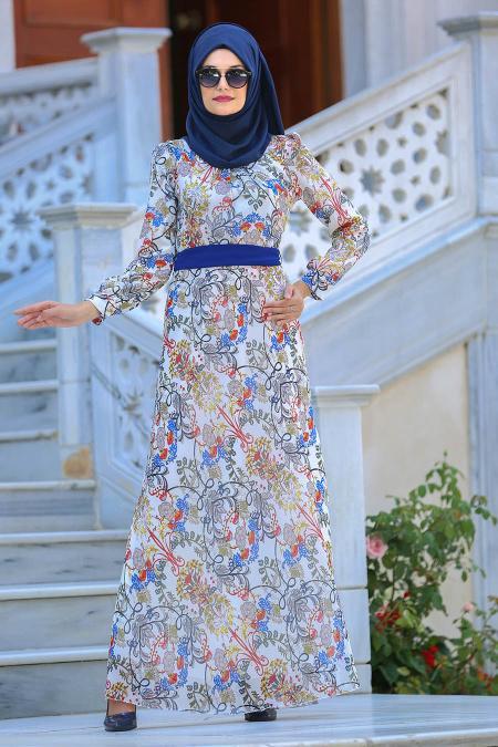 Neva Style - Desenli Beyaz Tesettür Elbise 76936B
