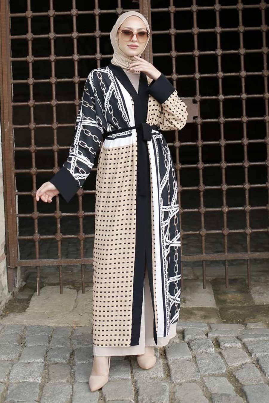 Neva Style - Desenli Bisküvi Kimono 33171BS