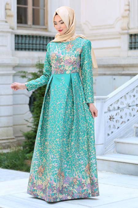 Neva Style - Desenli Çağla Yeşili Tesettür Abiye Elbise 2360CY