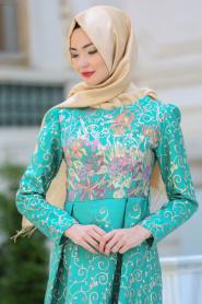 Neva Style - Desenli Çağla Yeşili Tesettür Abiye Elbise 2360CY - Thumbnail