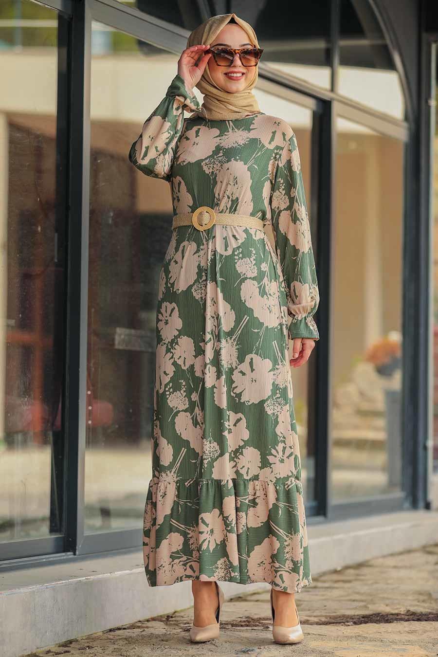Neva Style - Desenli Çağla Yeşili Tesettür Elbise 6155CY