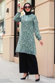 Neva Style - Desenli Çağla Yeşili Tesettür Tunik 30260CY - Thumbnail