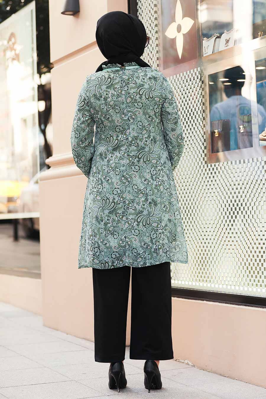 Neva Style - Desenli Çağla Yeşili Tesettür Tunik 30260CY
