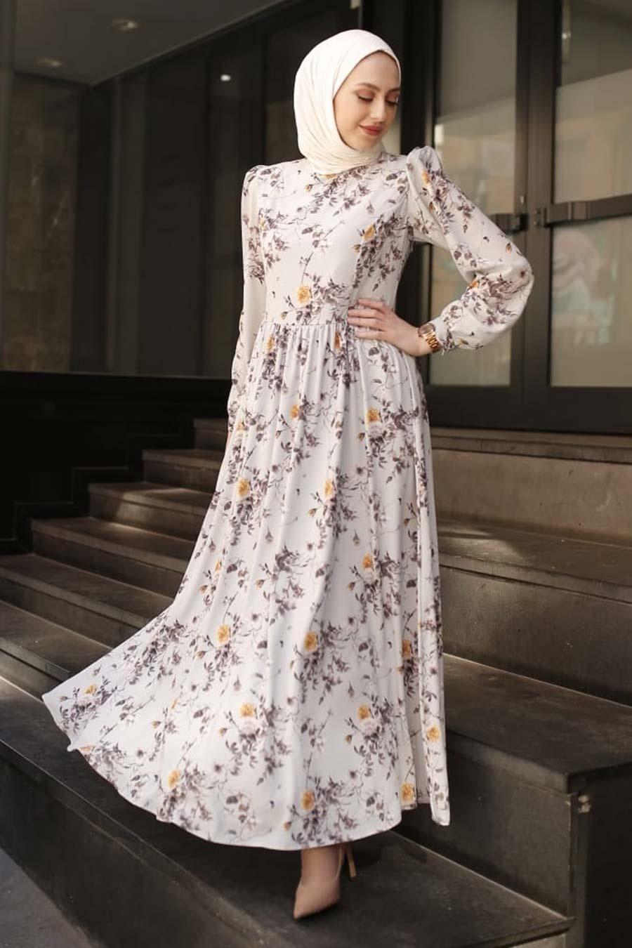 Neva Style - Desenli Ekru Tesettür Elbise 3272E